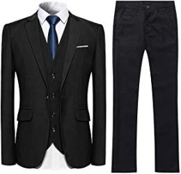 YFFUSHI Mens 3 Piece Suit Slim Fit One Button Solid Color Formal Dress