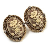 Antique Gold Floral Cameo Clip-On Earrings. Free Shipping ...