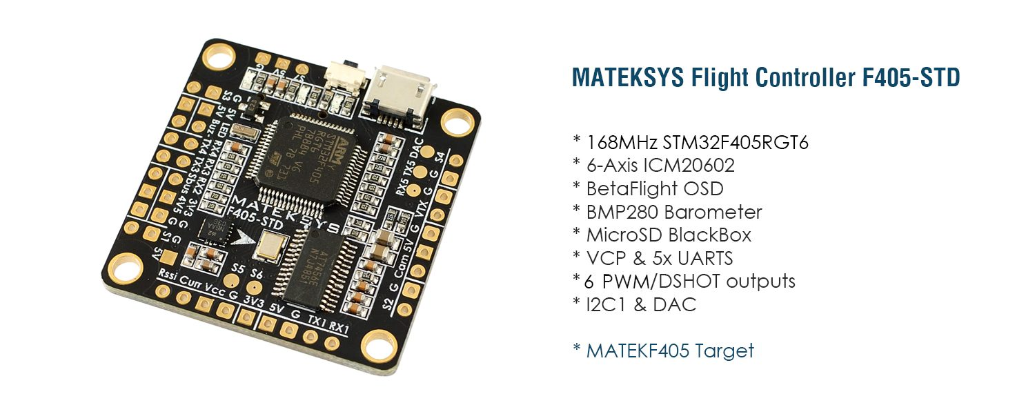 hight resolution of let s talk about the most likely fc to be the new official target for bi and tricopters the matek 405 std and the fchub w pdb