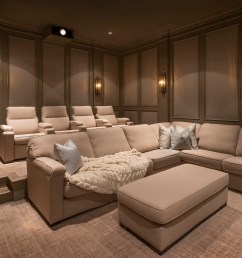 a custom home theater private cinema in flower mound texas with fabric walls sectionals and media room [ 2016 x 1243 Pixel ]