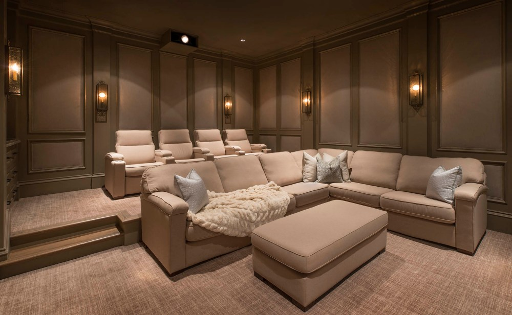 medium resolution of a custom home theater private cinema in flower mound texas with fabric walls sectionals and media room