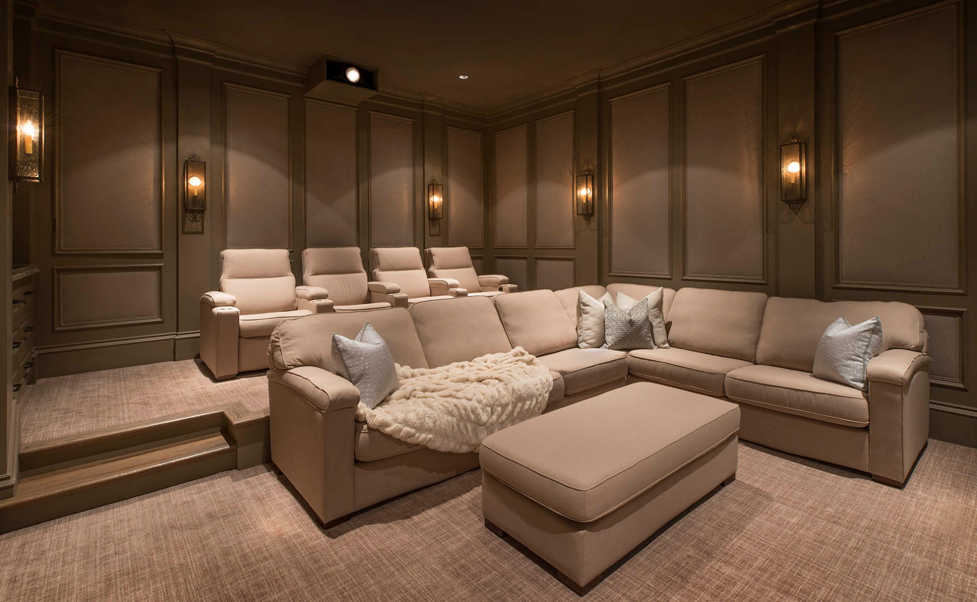 hight resolution of a custom home theater private cinema in flower mound texas with fabric walls sectionals and media room