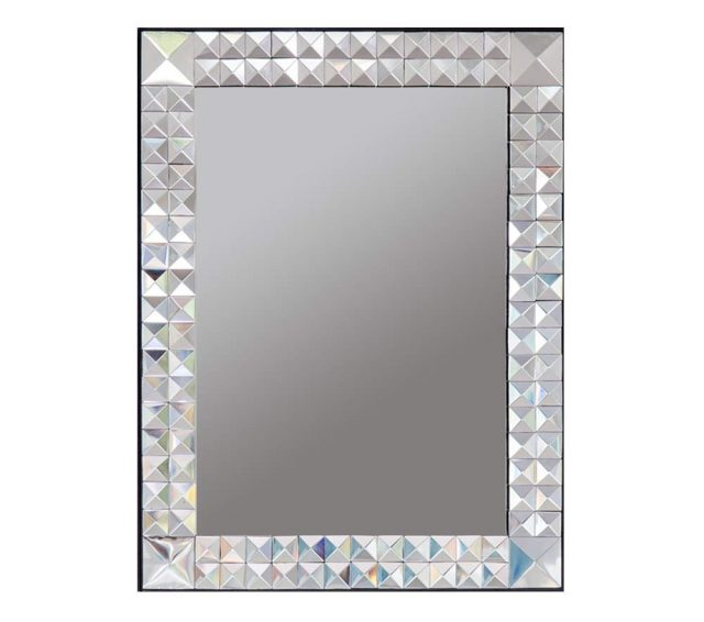 Decorative rectangular wall mirror with a beveled glass, mirrored pyramid-design frame.