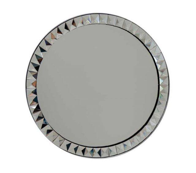 Round wall mirror with beveled glass pyramid-design frame for bathroom vanity mirror.