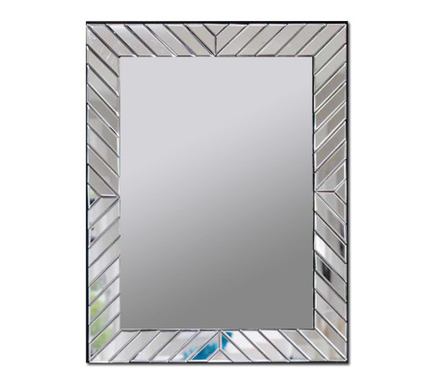 Decorative wall mirror with beveled glass edges and a mirrored glass frame with diagonal-design strips.
