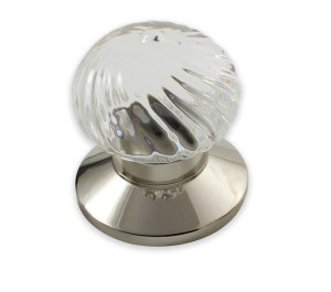 Swirl clear crystal door knob in polished nickel finish