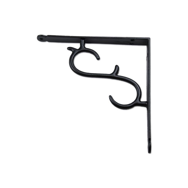 Simple iron metal shelving bracket in black finish.