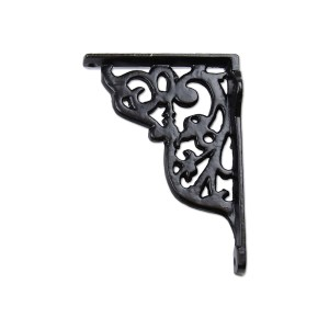 Small antique wrought iron shelf bracket in black finish.
