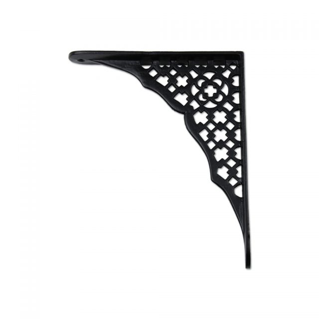 Traditional iron metal shelf support in black finish.