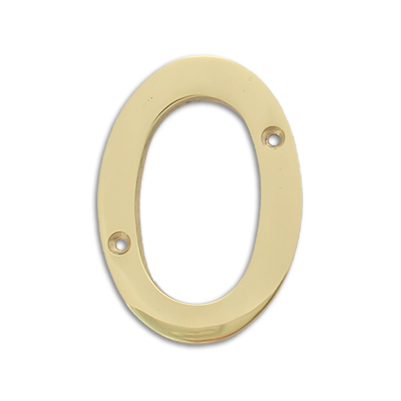 4-inch brass metal house number in polished brass finish - metal number 0