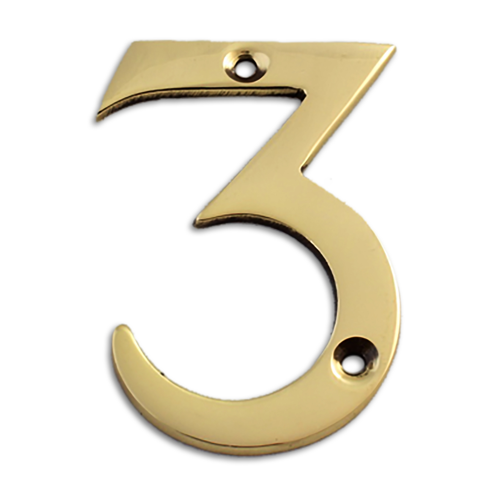 3-inch brass metal house number in polished brass finish - metal number 3