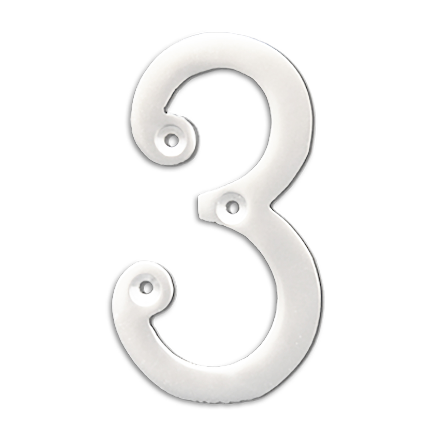 4-inch brass metal house number in polished chrome finish - metal number 3