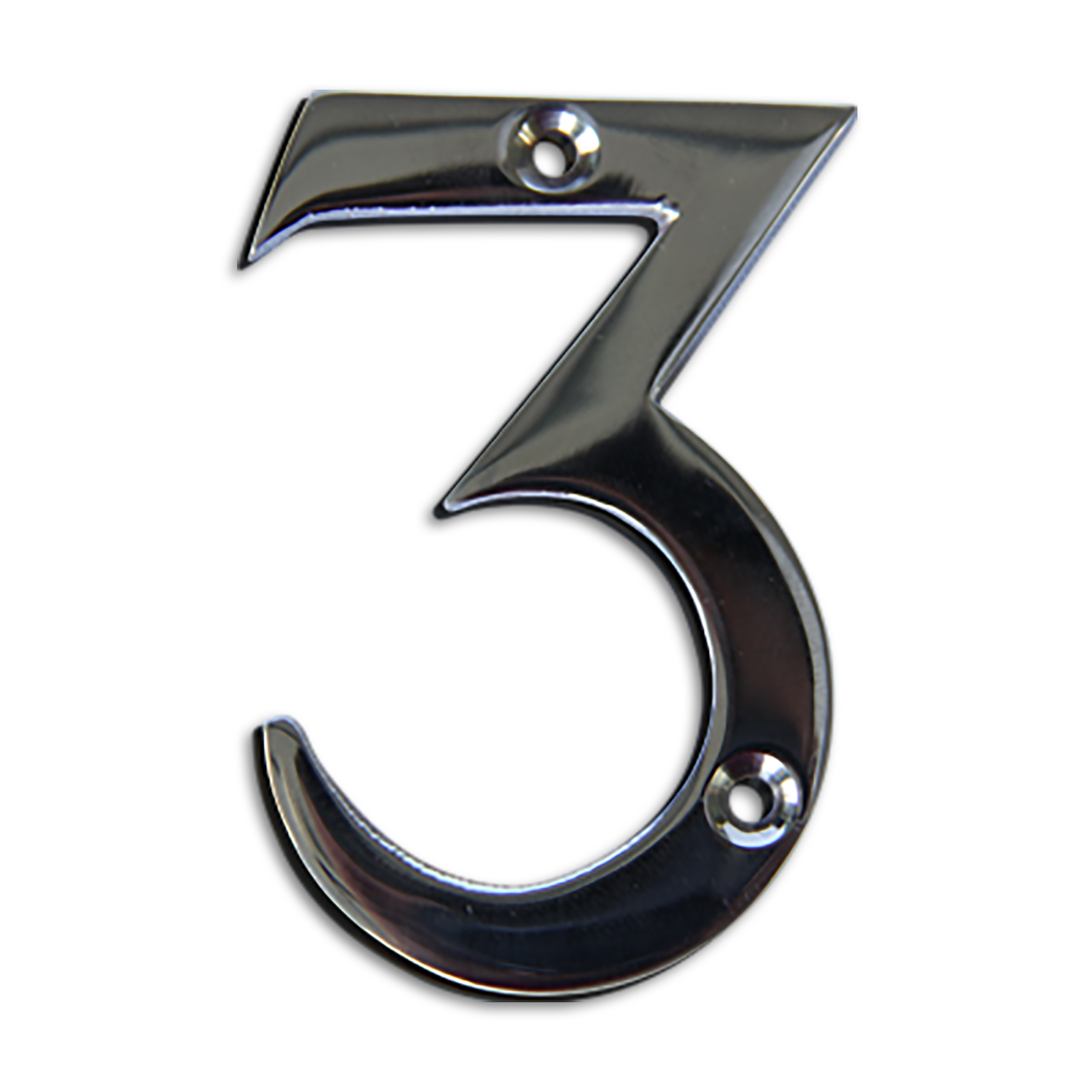 3-inch brass metal house number in polished chrome finish - metal number 3