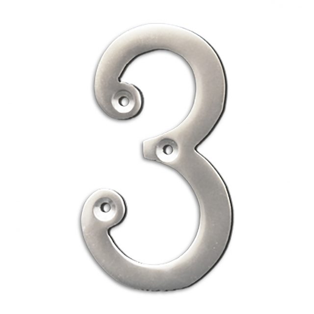 4-inch brass metal house number in satin chrome finish - metal number 3