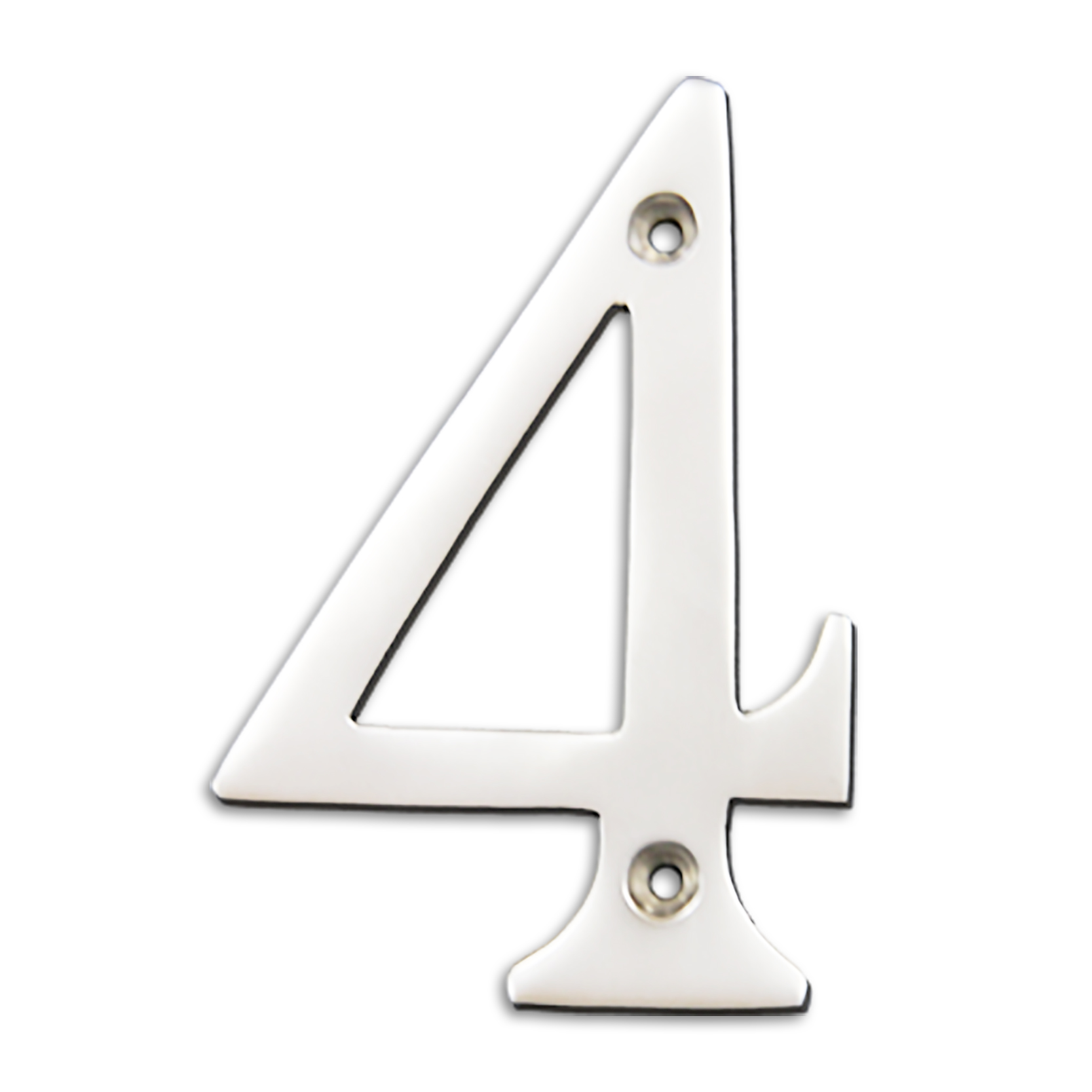 4-inch brass metal house number in polished chrome finish - metal number 4