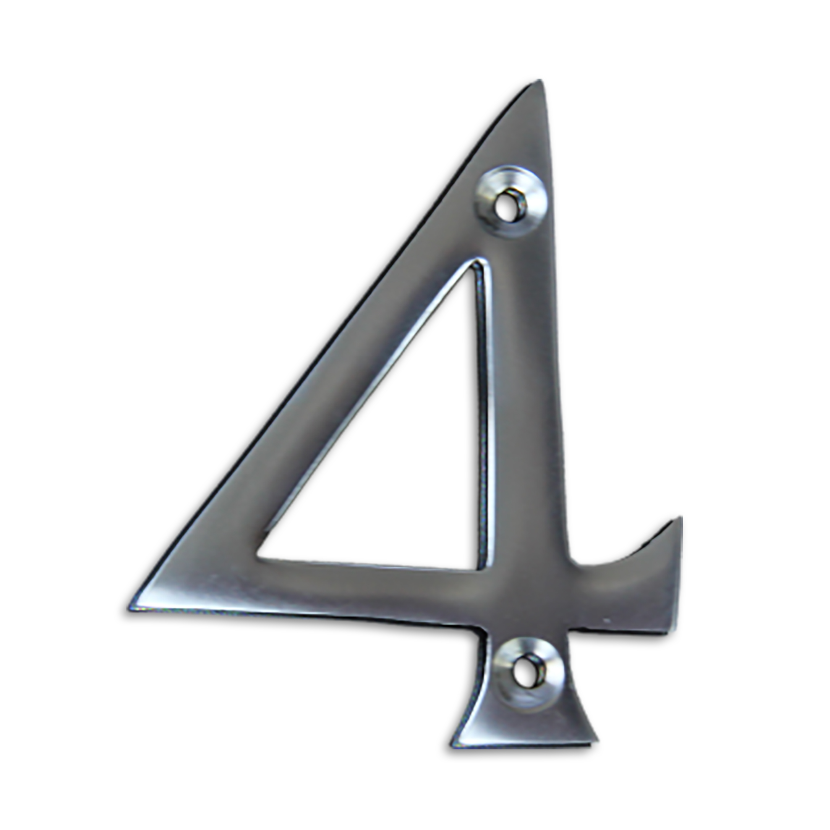 3-inch brass metal house number in satin chrome finish - metal number 4