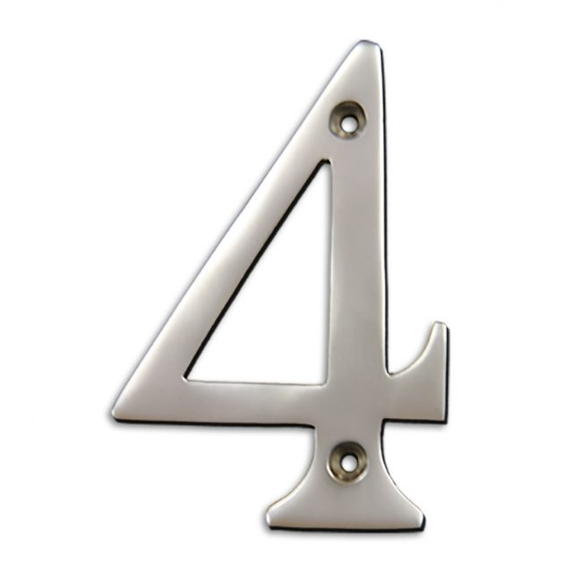 4-inch brass metal house number in satin chrome finish - metal number 4