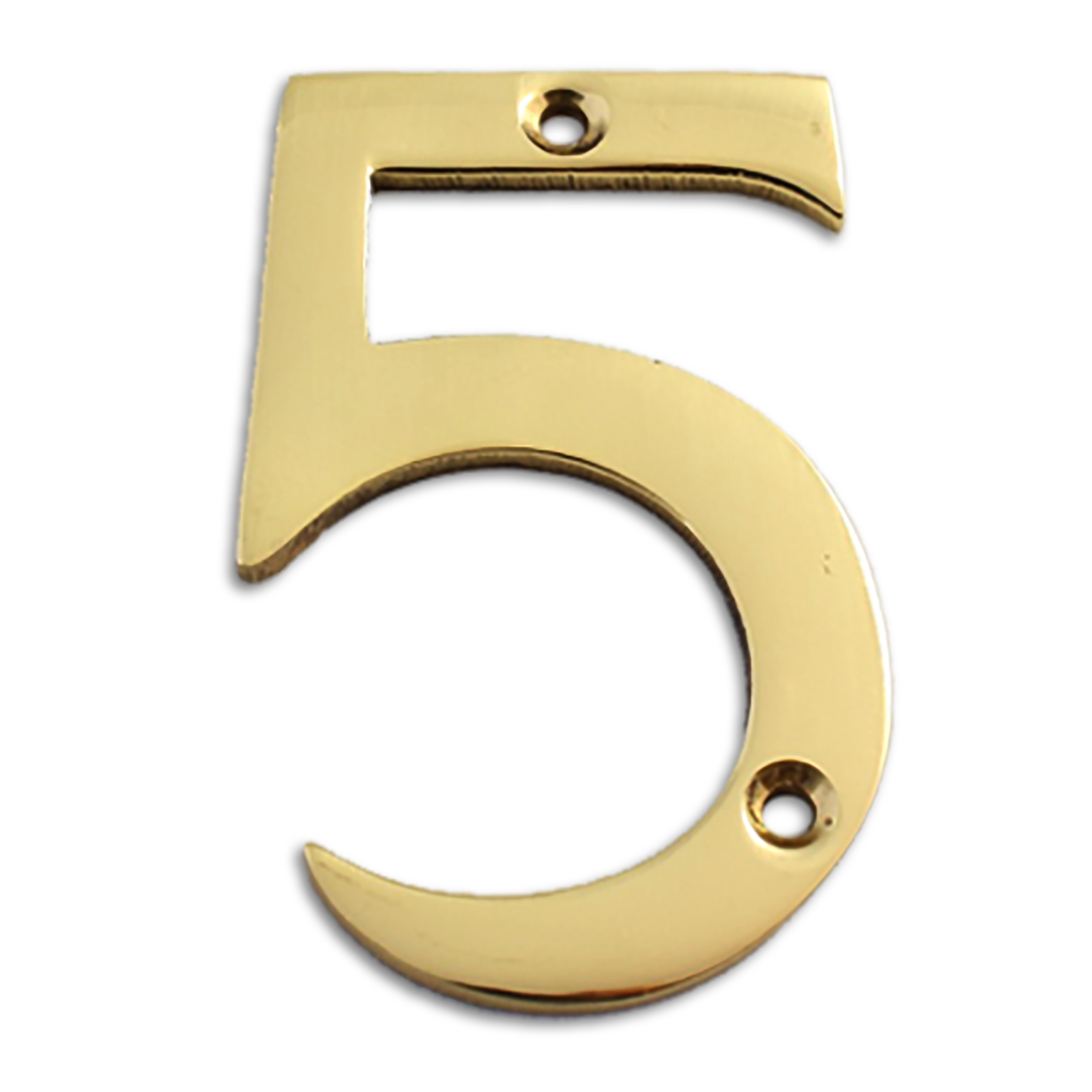 3-inch brass metal house number in polished brass finish - metal number 5