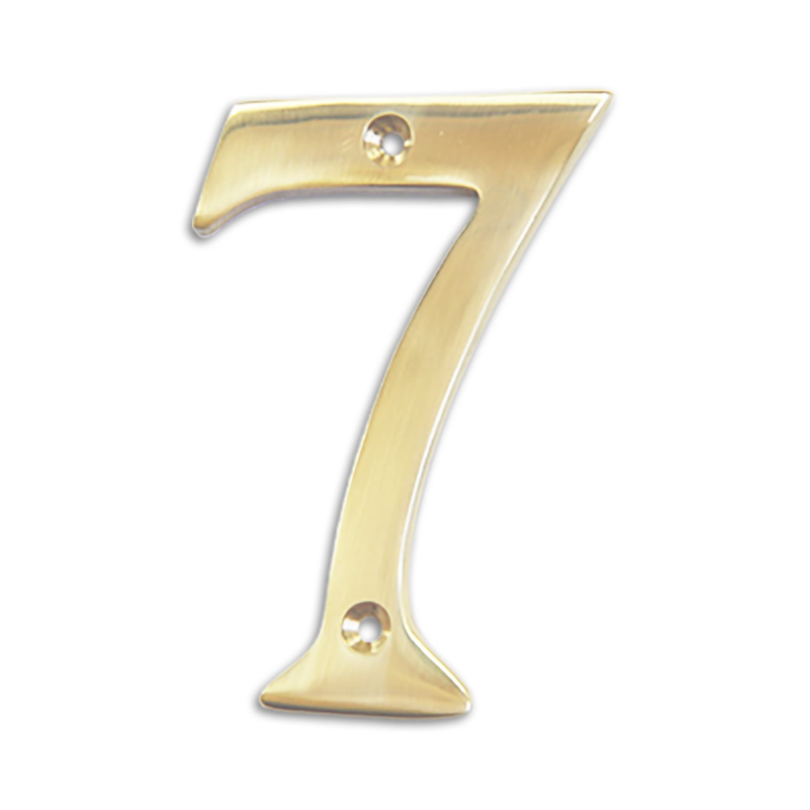 4-inch brass metal house number in polished brass finish - metal number 7