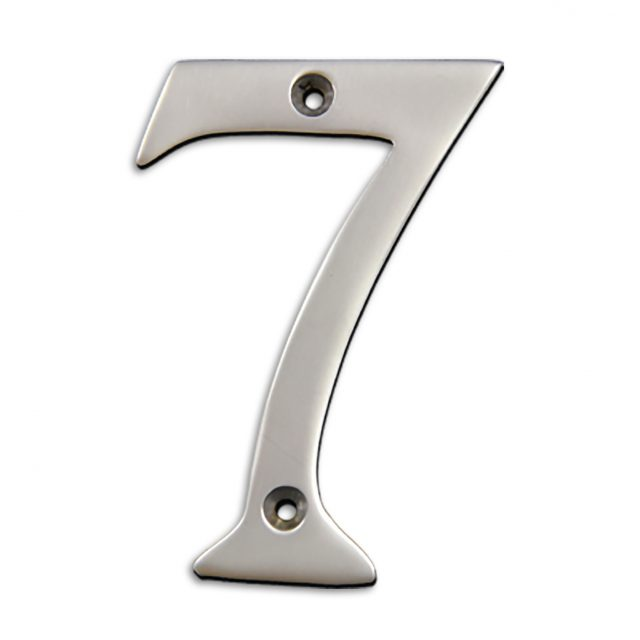 4-inch brass metal house number in satin chrome finish - metal number 7