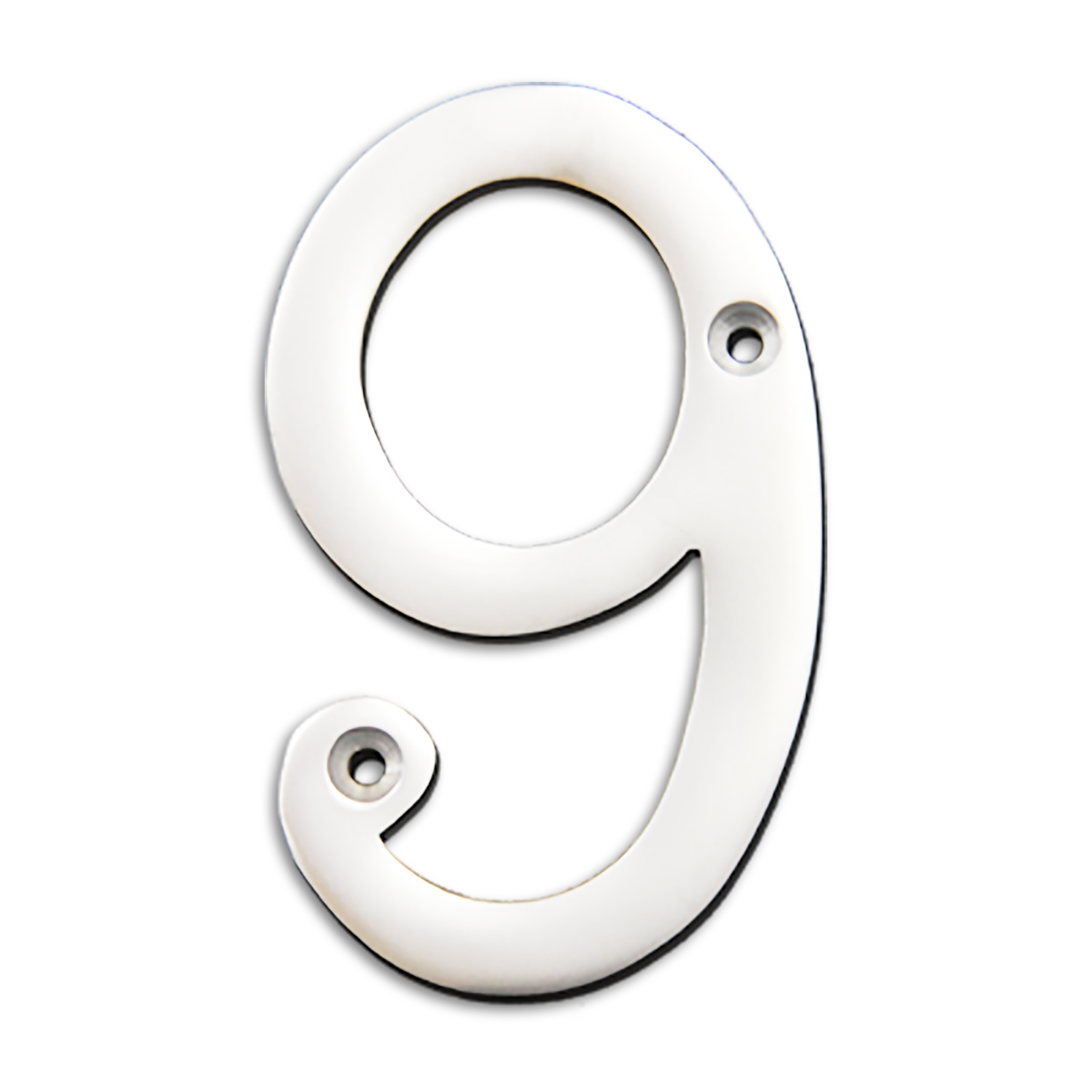 4-inch brass metal house number in polished chrome finish - metal number 9