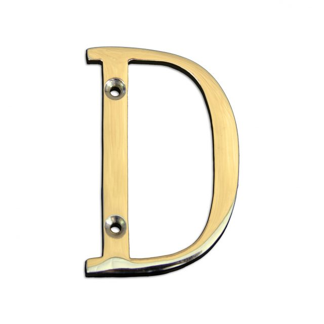 Brass metal letter D in polished brass finish.