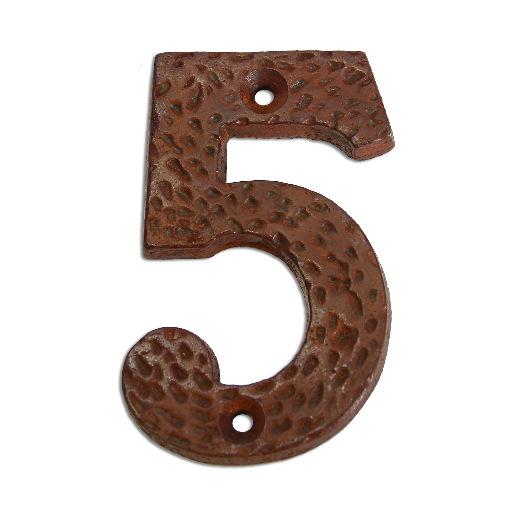 3-inch iron metal house number in rustic country finish - metal number 5