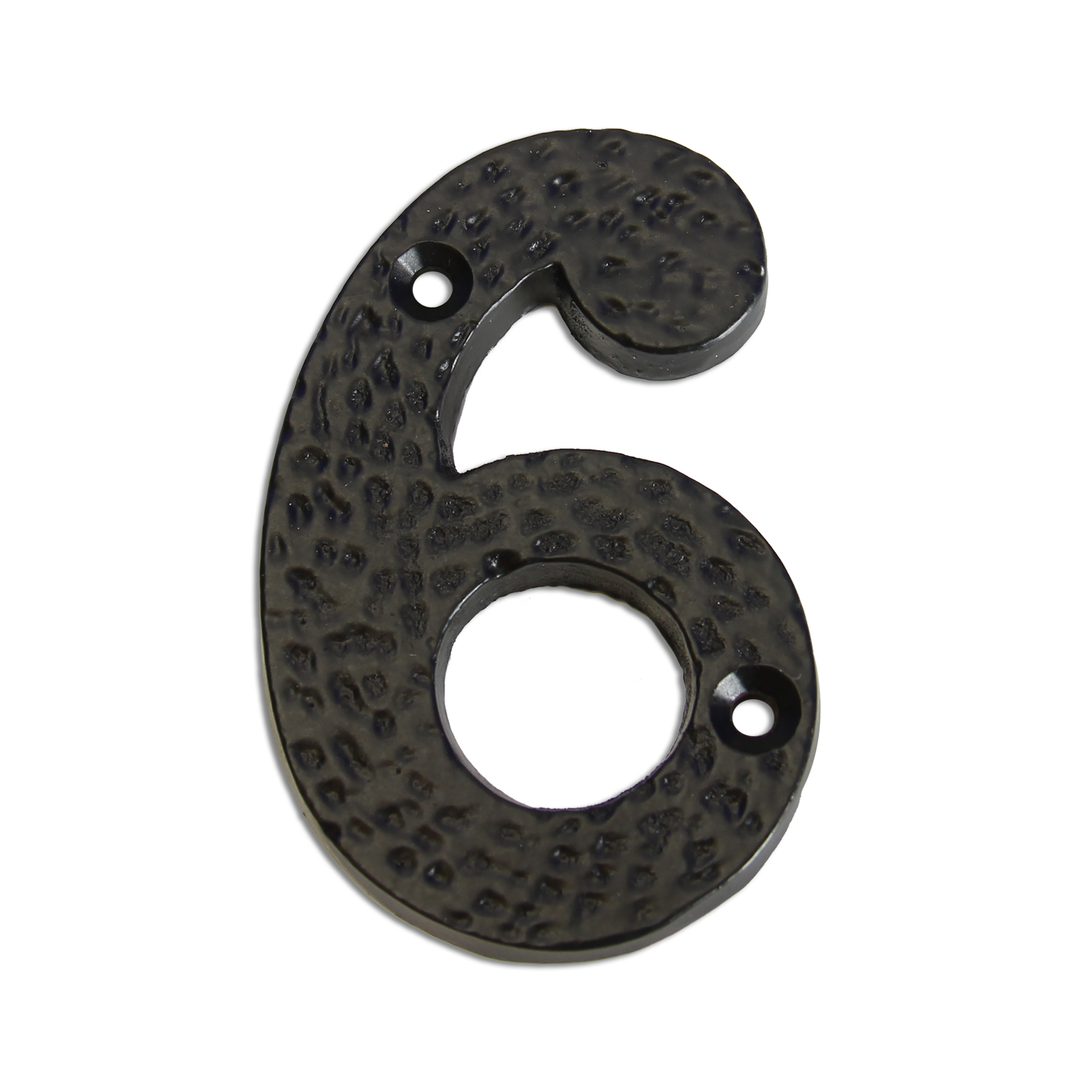 3-inch iron metal house number in iron black finish - metal number 6