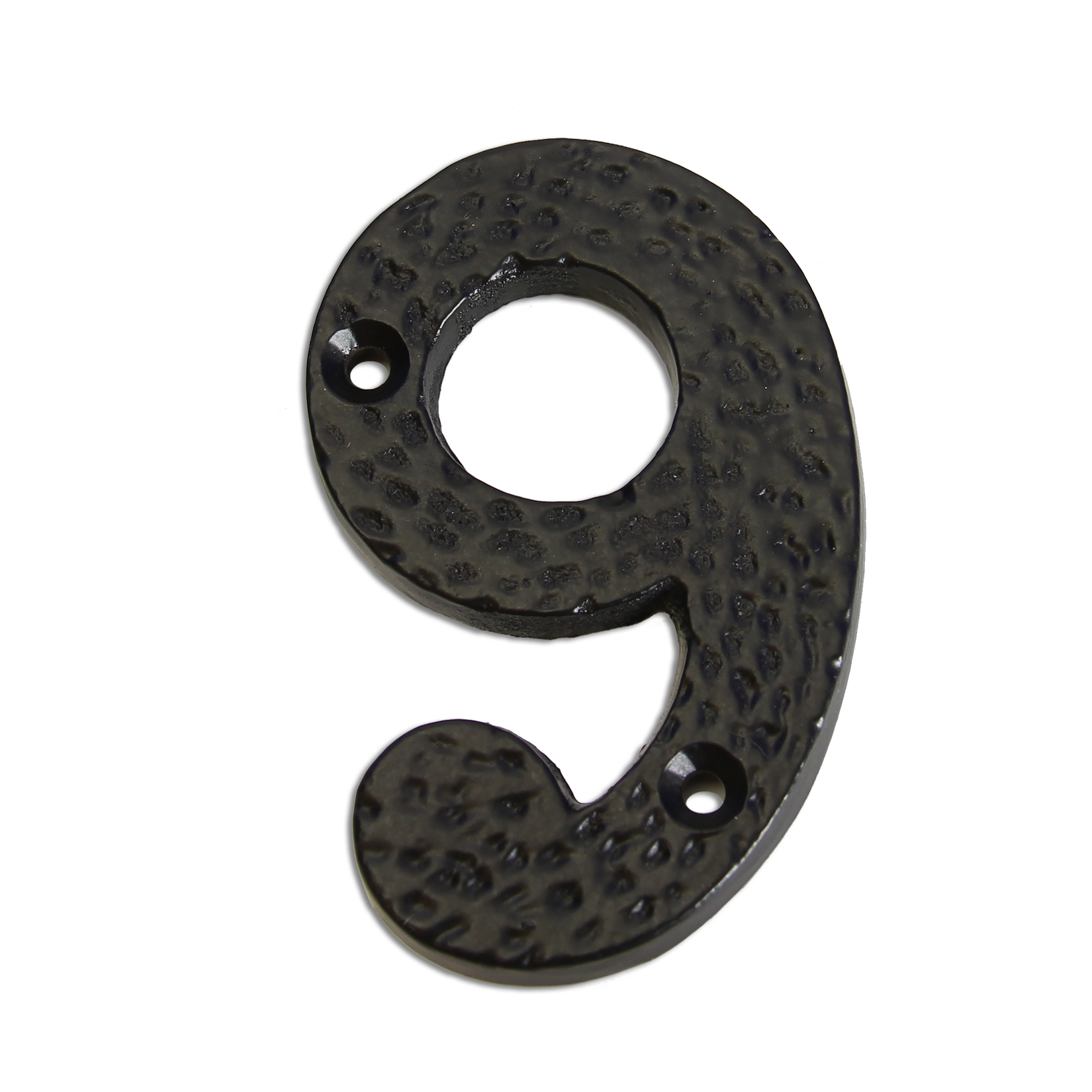3-inch iron metal house number in iron black finish - metal number 9