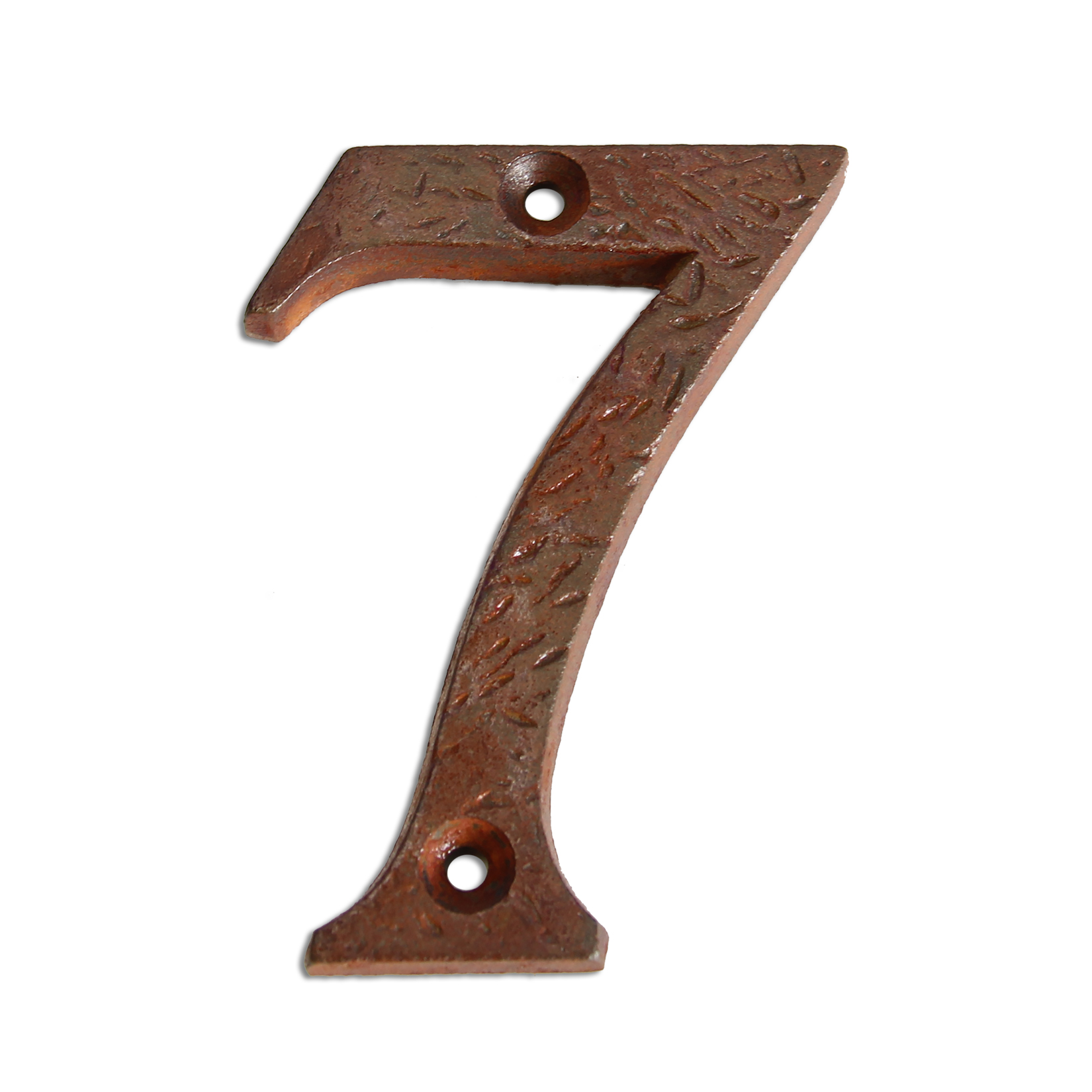 3-inch iron metal house number in rustic country finish - metal number 7