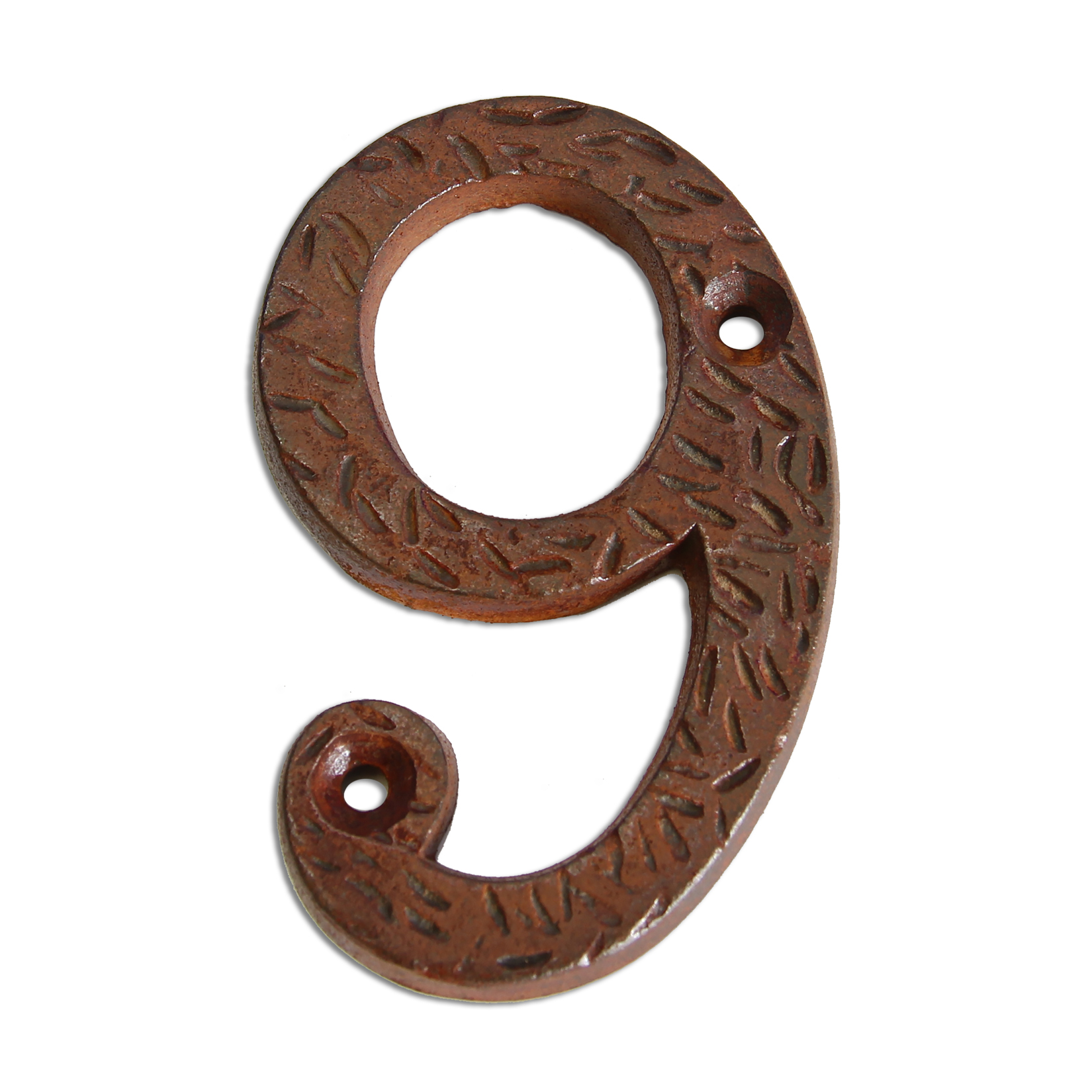 3-inch iron metal house number in rustic country finish - metal number 9