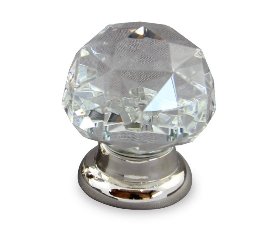 Diamond clear crystal cabinet knob in polished nickel finish