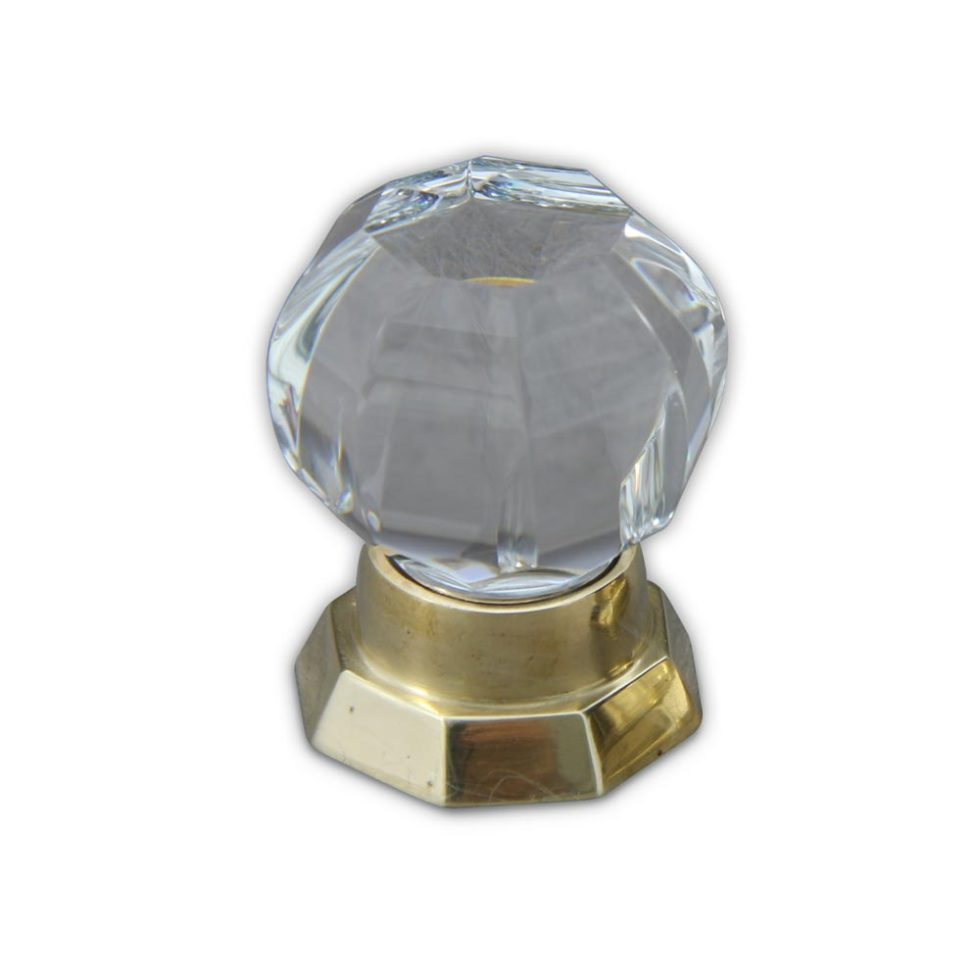 Octagonal small cabinet knob in polished brass finish