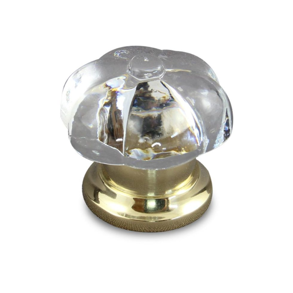 Pumpkin clear crystal cabinet knob in polished brass finish