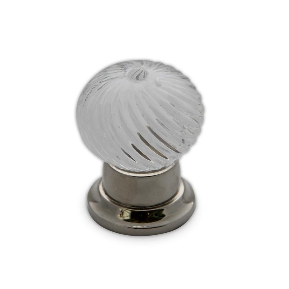 Swirl clear crystal cabinet knob in polished nickel finish