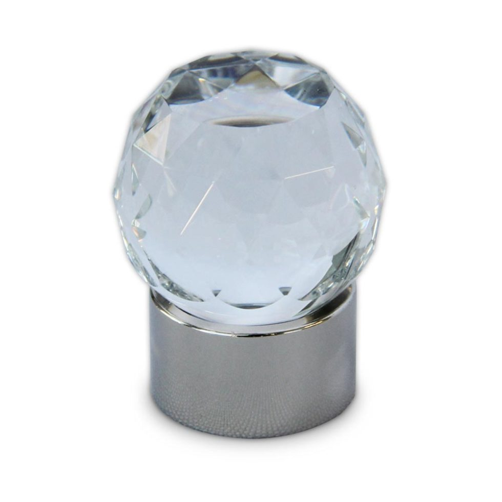 Tulip diamond-cut clear crystal small cabinet knob in polished nickel finish
