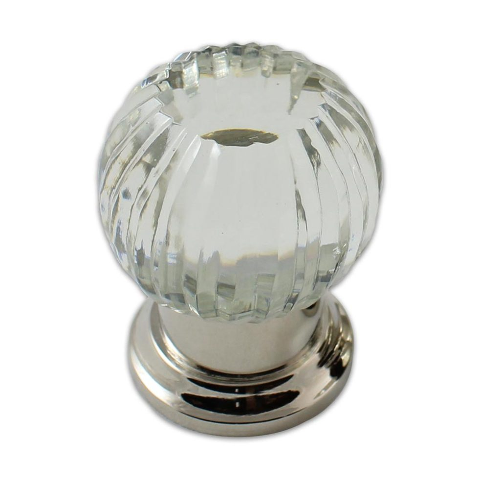 Tulip spearclear crystal cabinet knob in polished nickel finish