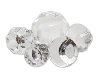 Elegance door knob and cabinet knobs are available in a variety of crystal and natural quartz materials including Clear Crystal.