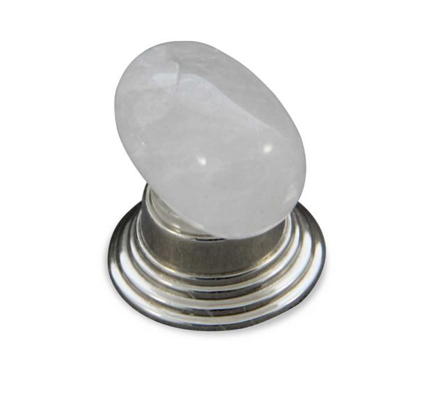 Oval rock crystal cabinet knob in polished nickel finish