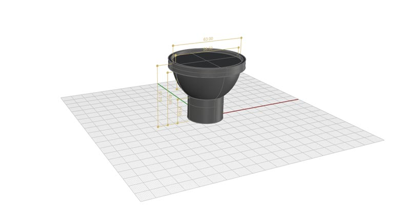 3D model of a custom designed product with our custom manufacturing service