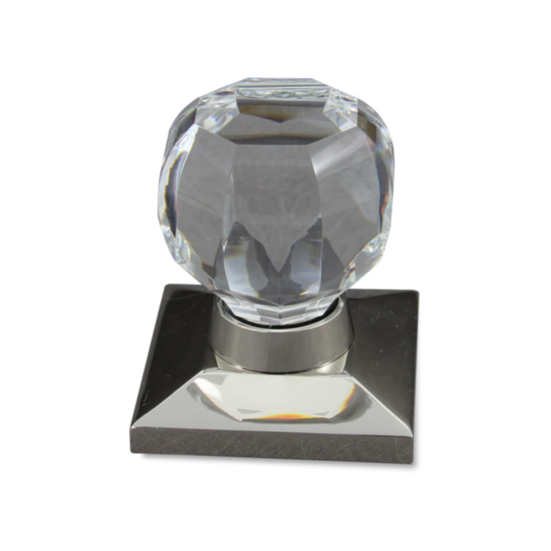 Octagonal Clear Crystal Door Knob design in polished nickel square door knob base