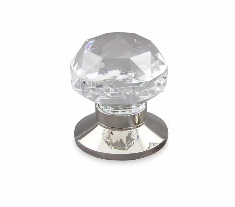 Diamond Cut Clear Crystal Door Knob design in polished nickel plain door knob base