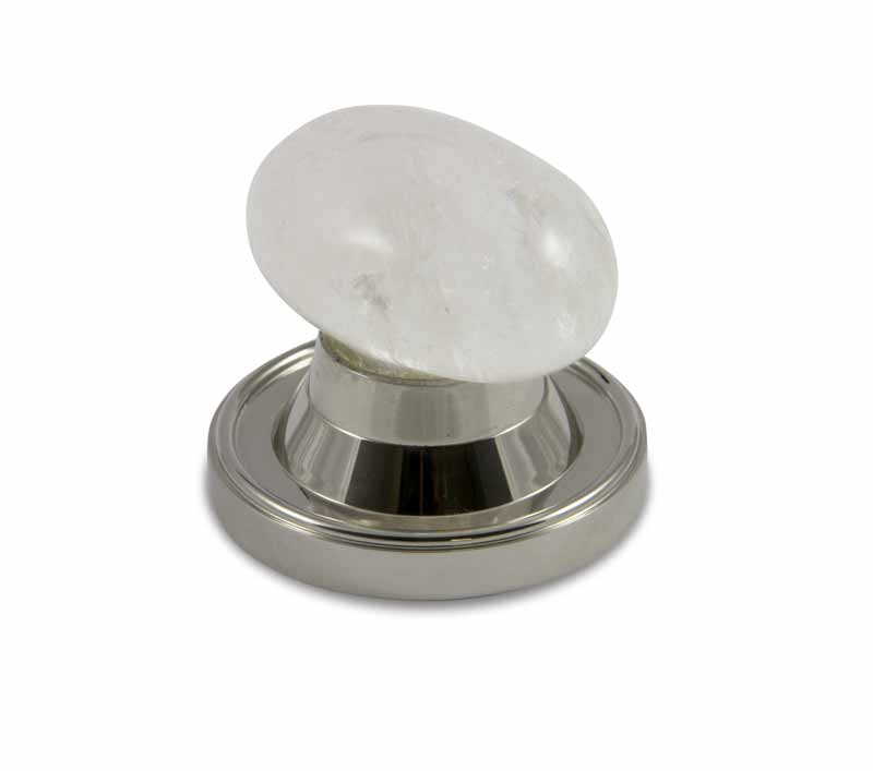 Oval Rock Crystal Door Knob design in polished nickel high top door knob base