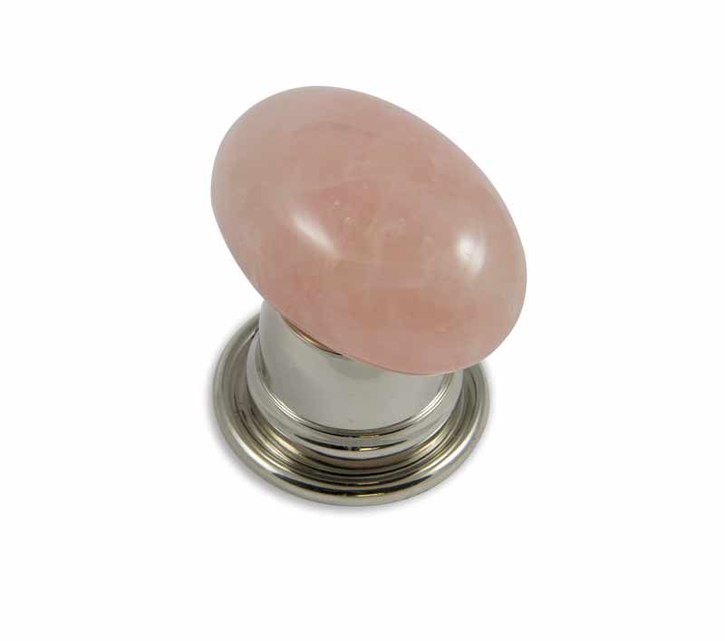 Oval Rose Quartz Door Knob design in brushed nickel bell door knob base