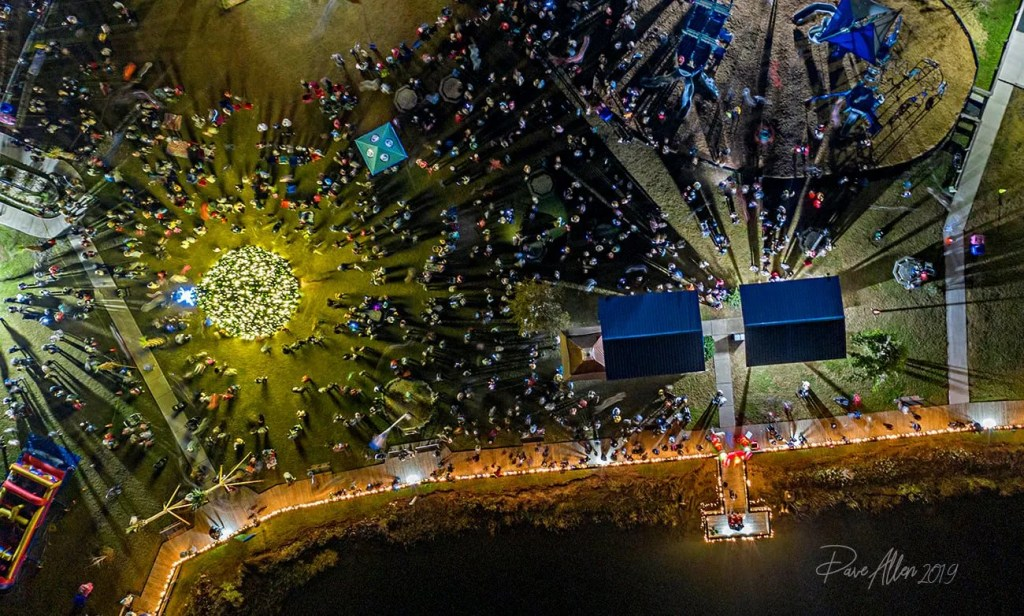 Aerial of Surf City Christmas Tree Lighting, captured by Dave Allen