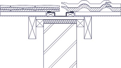 Diagram 1: Typical bonding gutter detail using a lead-lined drainage channel at the junction between the two roof coverings