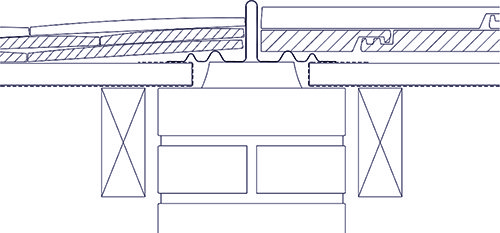 Diagram 3: An increasingly popular form of bonding gutter is a pre-formed one with a central upstand