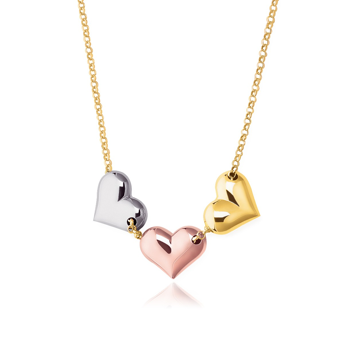 Triple Heart Necklace In 14k Tricolor Gold  Richard