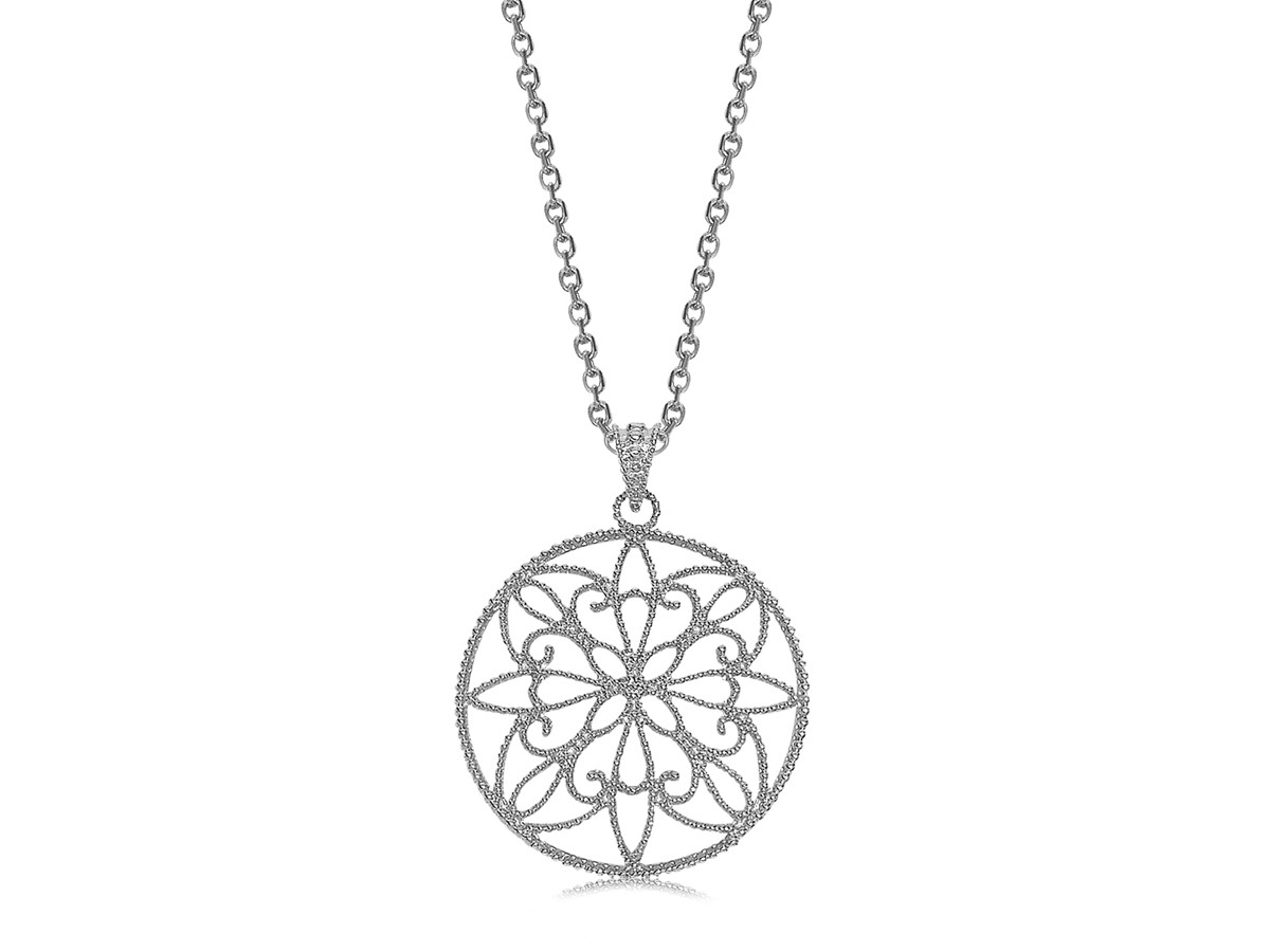 Round Filigree Style Pendant In Rhodium Plated Sterling
