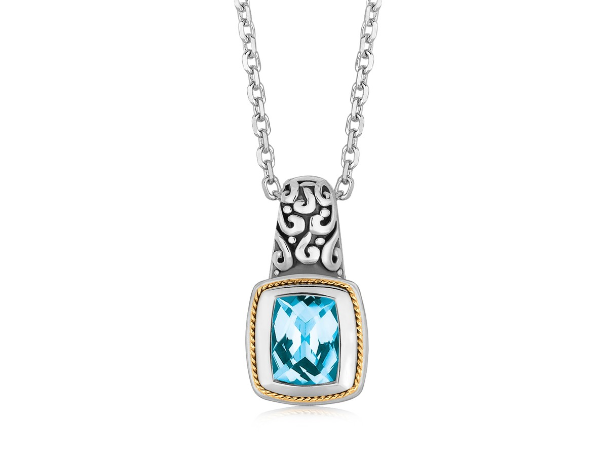 Fancy Necklace With Rectangular Blue Topaz Pendant In 18k Yellow Gold And Sterling Silver